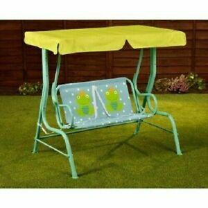 Garden Outdoor Patio Metal Swing Chair Kids Frog Design 2 Seater Hammock Pink