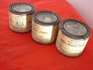 3 Vintage Herter's 4oz Decoy Paint containers