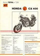HONDA CX 400 CX400 Fiche Technique Moto 000319