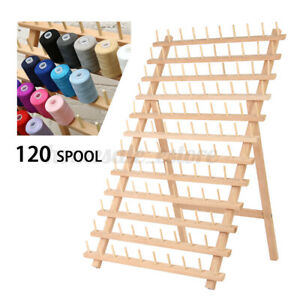 120 Spools Wood Thread Cone Holder Rack Sewing Quilting Embroidery Organizer /