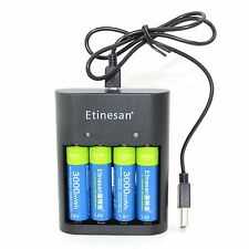 Etinesan 4pcs 1.5v 3000mWh Li-ion lithium rechargeable AA battery + USB charger