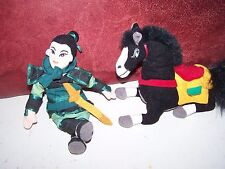 Disney MULAN and KHAN black Horse Plush Stuffed bean bag