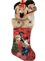 VINTAGE 2010 Disney Store Minnie Mouse Satin Fur Christmas stocking NWT Pink red