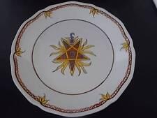 Vtg French MASONIC Symbols Faience Art Pottery Handmade Handpainted Plate 6 MINT