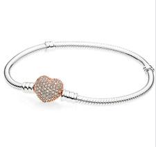 Fashion 925 Silver Zircon Heart Bangle With European Charm Bracelet Fit Women !!