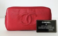 Auth Chanel Red Caviar Leather Clutch Wallet Purse CC