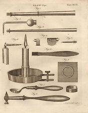 1797 GEORGIAN PRINT ~ BLOW PIPE ~ VARIOUS EQUIPMENT APPARATUS