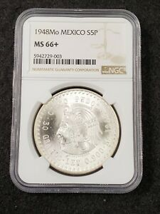 1948 Mo Mexico Cuauhtemoc Silver 5 Pesos Coin NGC Graded MS66+ BU Uncirculated