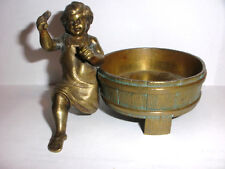 ANTIQUE 19th BRONZE BLACKSMITH SEMI NUDE BOY CHANGE RING TRAY SCULPTURE RUSSIAN?