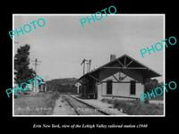 OLD LARGE HISTORIC PHOTO OF ERIN NEW YORK, THE RAILROAD DEPOT STATION c1940