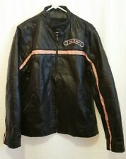 Diamond Plate Leather Black & Pink Motorcycle Jacket Women's Large Love to Ride