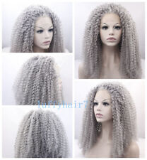 24'' Gray Color Lace Front Wig Synthetic Hair Long Curly Wigs