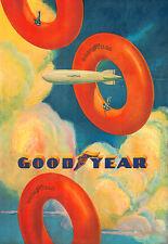 ART DECO GOODYEAR Tube dirigeable PNEU PNEUS AUTO VOITURE Poster Print