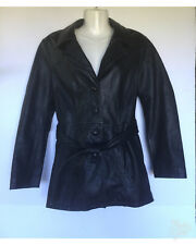 Jacqueline Ferrar Women's Jacket Sz M Black Genuine Leather Polyester