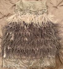 Sue Wong prom bebe Ostrich feather ombre bead jewel skirt mini dress Gray sz 4