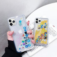 For iPhone 11 Pro Max XR XS 7 8 Plus App Icon Quicksand Moving Clear Case Cover