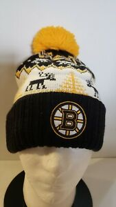 🔥🔥OFFICIAL BOSTON BRUINS NHL REEBOK HOCKEY XMAS POM CUFFED BEANIE HAT NEW🏒🏒