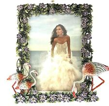 Flamingo Floral Picture Frame 325519 Deluxe Austrian Crystals Enameled Plumerias