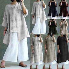 8-26 Womens 3/4 Sleeve Plaid Linen Casual Maxi Long Dress Loose Top Shirt Blouse