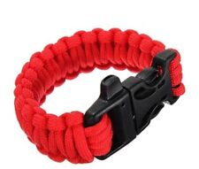 Paracord Survival tactical Bracelet Cord Buckle With Whistle New Red
