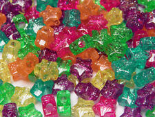 Star shaped Pony Beads Jelly like colors with glitter sparkle for crafts kandi