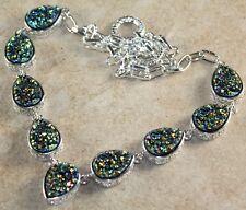 Silver Vintage Style Golden Green Titanium Druzy Teardrop Necklace WN10703
