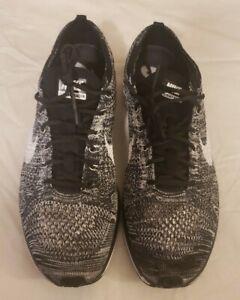 Mens Nike Flyknit Racer Oreo Sz 10.5 Running Shoes 2015 Black White 526628 012