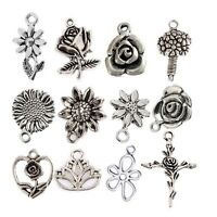 10pcs Flowers Rose Series Beads Charms Tibetan Silver Pendant Fit DIY Bracelet