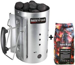 Kit ciminiera MasterCook accenditore per barbecue più 5Kg di bricchetti