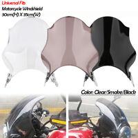 Motorcycle Round Windscreen Windshield Fairing+Bracket for Honda Yamaha Kawasaki