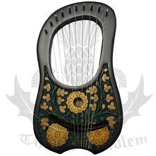 Lyre Harp 10 Metal Strings Shesham Wood Black & Gold Carrying Case/Lyra Harps