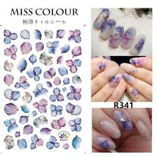 Nail Stickers Nail Art Decal Waterproof Flower Blue Purple Pedal