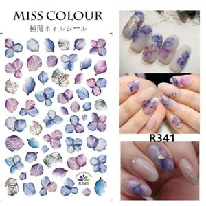 Nail Stickers Nail Art Decal Waterproof Flower Blue Purple Pedal