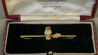 Antique Victorian Owl Brooch 9ct Gold. Cased.