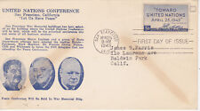 POSTAL HISTORY-FIRST DAY COVER FDC U.N. PEACE CONFERENCE W.G. CROSBY CACHET