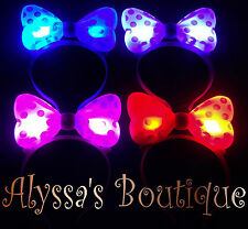 12 pc MINNIE MICKEY MOUSE EARS LIGHT UP BOW HEADBANDS FLASHING LED PARTY FAVORS