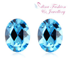925 Sterling Silver Made With Swarovski Element Aquamarine Oval Stud Earrings