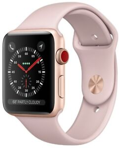 Apple Watch Series 3 42mm Gold Case Pink Sand Sport Band GPS + Cellular Used