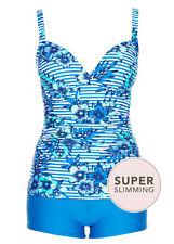 BLUE tropical Tankini top + boy shorts leg bottoms swimsuit bathers set 22 NEW