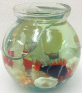 Gel Jelly Candle Fish with Shells Glass Aquarium