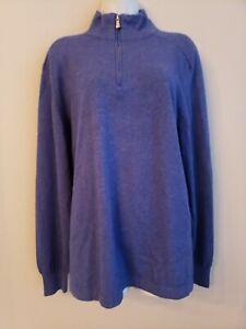 EUC Loro Piana Blue/Purple Cashmere Cotton Blend Sweater Size 52 Very Soft