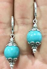 silver Dangle Earrings 10mm C40189 Fashion Jewelry Blue Turquoise handmade