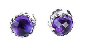 DAVID YURMAN Women's Chatelaine Earrings with Amethyst 10mm NEW