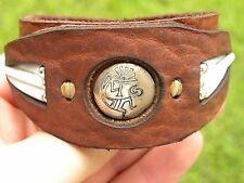 Sterling silver kokopelli button  Bison leather good luck shells cuff bracelet