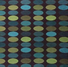 UNIKA VAEV BOUNCE BALL GEO BLUE OVALS SAGE GREEN HEAVY UPHOLSTERY FABRIC BY YARD