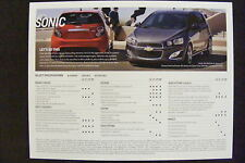 2013 CHEVROLET SONIC DEALERSHIP SPECIFICATION CARD