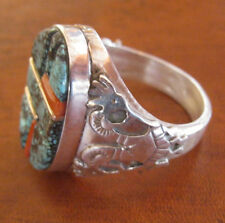 Navajo Turquoise, Coral,  and Silver Ring by (Ray) R. Francisco