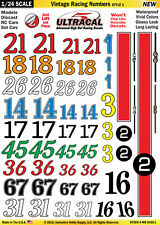 MG6420-1 1/24 High Def UltraCal Decals Vintage Racing Numbers Style 1