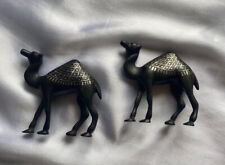 Beautiful Alabaster or Soapstone Miniature Camels Pair 2.5�x2.5� Silver Relief