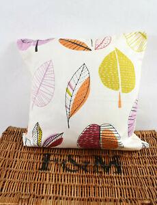 Multicoloured Linen Blend Empty Cushion Cover Leaf Design